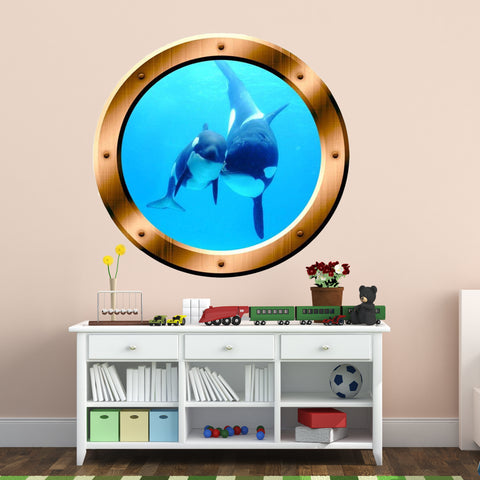 VWAQ Underwater Orca Whale Bronze Porthole Peel And Stick Vinyl Wall Decal - BP4
