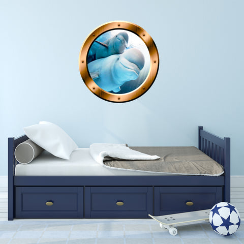 VWAQ Underwater Beluga Whale View Bronze Porthole Peel And Stick Vinyl Wall Decal - BP5