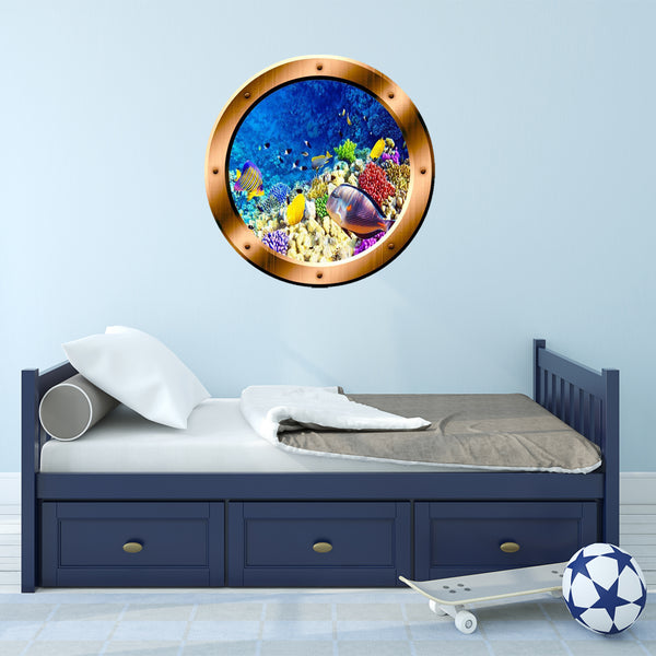 VWAQ Underwater Scene School of Fish Bronze Porthole Peel And Stick Vinyl Wall Decal - BP7