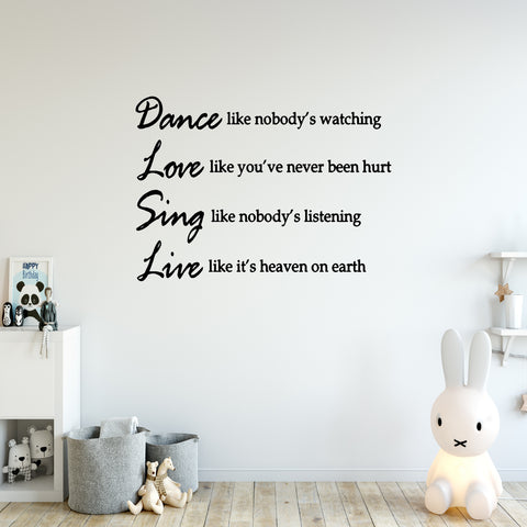 VWAQ Dance Like Nobody's Watching Dance Wall Decal - VWAQ Vinyl Wall Art Quotes and Prints