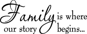 VWAQ Family Is Where Our Story Begins Family Wall Quotes Decal - VWAQ Vinyl Wall Art Quotes and Prints