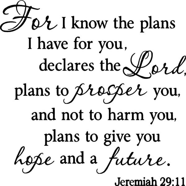 VWAQ For I Know the Plans I Have for You Faith Wall Quotes Decals (FV) - VWAQ Vinyl Wall Art Quotes and Prints