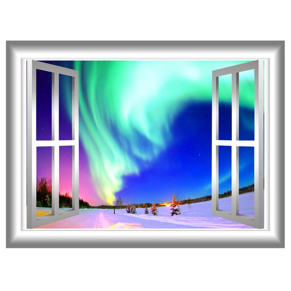 VWAQ Winter Scene Window Frame Peel and Stick Vinyl Wall Decal - GJ02 no background