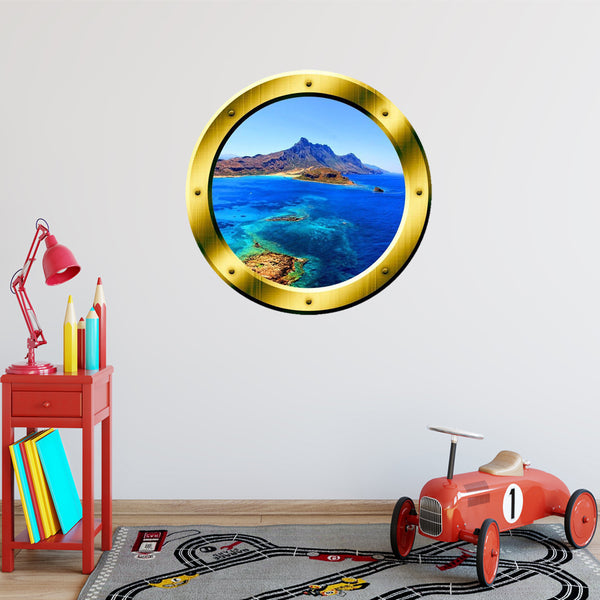 VWAQ Ocean Side Cliff View Gold Porthole Peel and Stick Vinyl Wall Decal - GP11