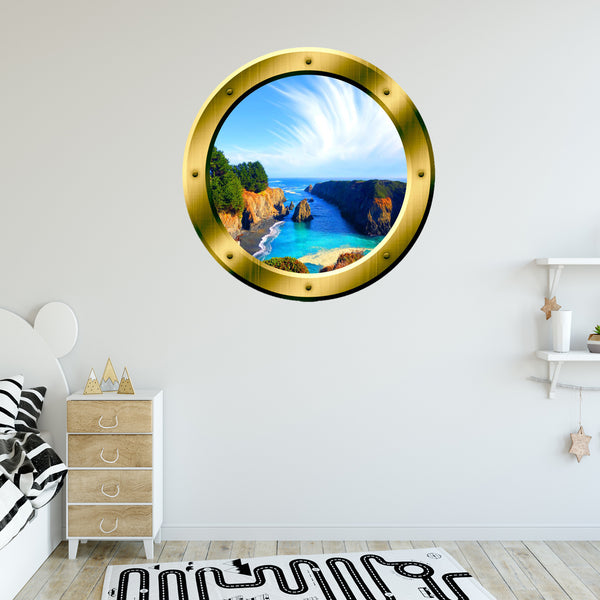 VWAQ Tropical Cove Rocky Scene Silver Window Porthole Peel & Stick Vinyl Wall Decal - GP12