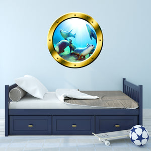 VWAQ Underwater Seals View Gold Window Porthole Scene Vinyl Wall Decal - GP1