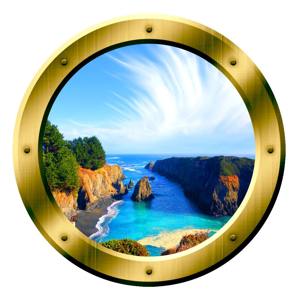 VWAQ Tropical Cove Rocky Scene Silver Window Porthole Peel & Stick Vinyl Wall Decal - GP12 no background