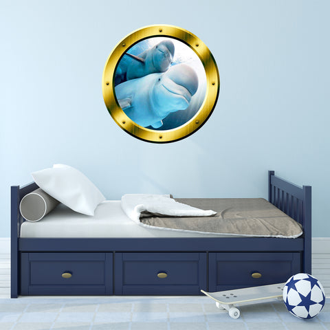 VWAQ Underwater Beluga Whale View Gold Window Porthole Vinyl Wall Decal - GP5