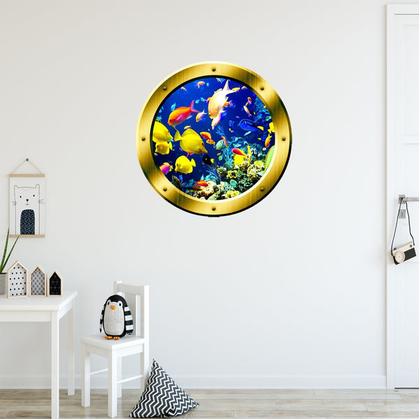 VWAQ Underwater Ocean Life Porthole Gold Window frame Wall Decal - GP6