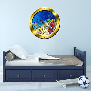 VWAQ Underwater Scene School of Fish Gold Porthole Peel And Stick Vinyl Wall Decal - GP7