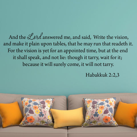 VWAQ Then the Lord replied Write down the Revelation Habakkuk 2:2,3 - VWAQ Vinyl Wall Art Quotes and Prints
