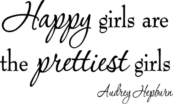 VWAQ Happy Girls are the Prettiest Girls Audrey Hepburn Wall Decal - VWAQ Vinyl Wall Art Quotes and Prints
