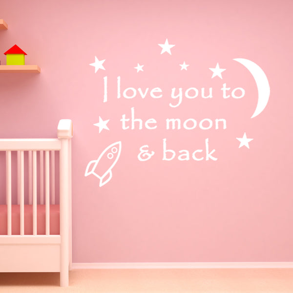 VWAQ I Love You To The Moon and Back Wall Decal - VWAQ Vinyl Wall Art Quotes and Prints