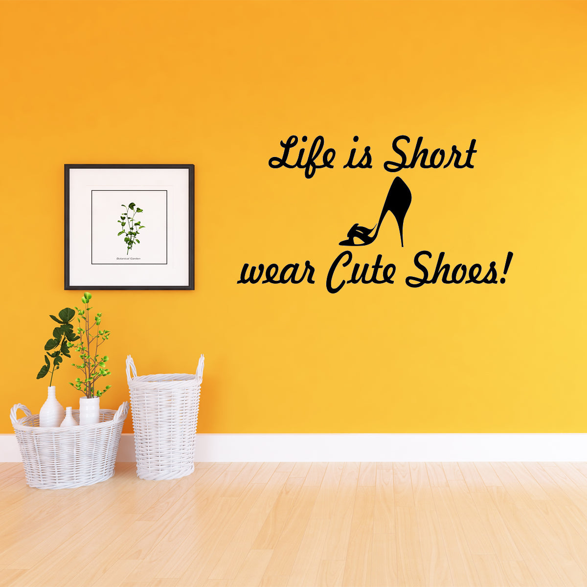 VWAQ Life is Short Wear Cute Shoes Wall Sticker Quote - Wall Decals Closet