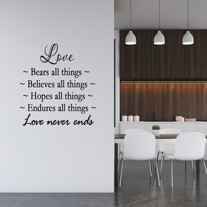 VWAQ Love Bears All Things Love Never Ends Vinyl Wall Decal