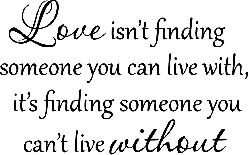VWAQ Love Isn\'t Finding Someone You Can Live With Vinyl Wall Decal