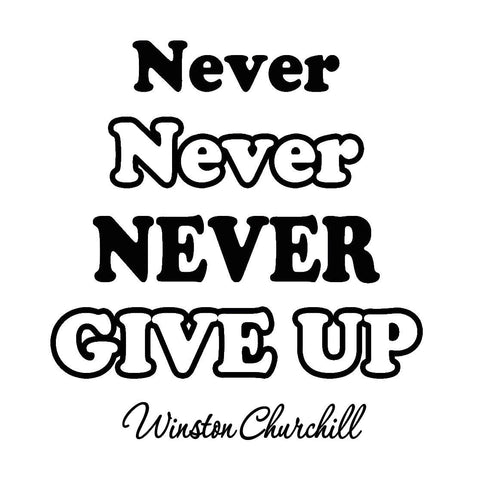 VWAQ Never Never Never Give Up Winston Churchill Wall Decal - VWAQ Vinyl Wall Art Quotes and Prints