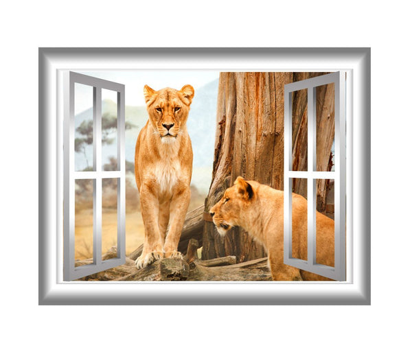 Lioness Wall Decal 3D Window Sticker Animal Wall Art Peel and Stick Mural VWAQ-NW20 - VWAQ Vinyl Wall Art Quotes and Prints no background