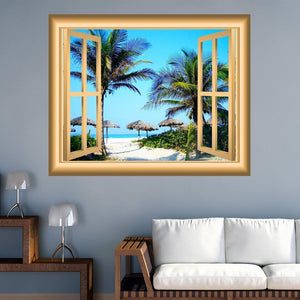 VWAQ Sandy Beach Window Frame Peel and Stick Vinyl Wall Decal - NW35