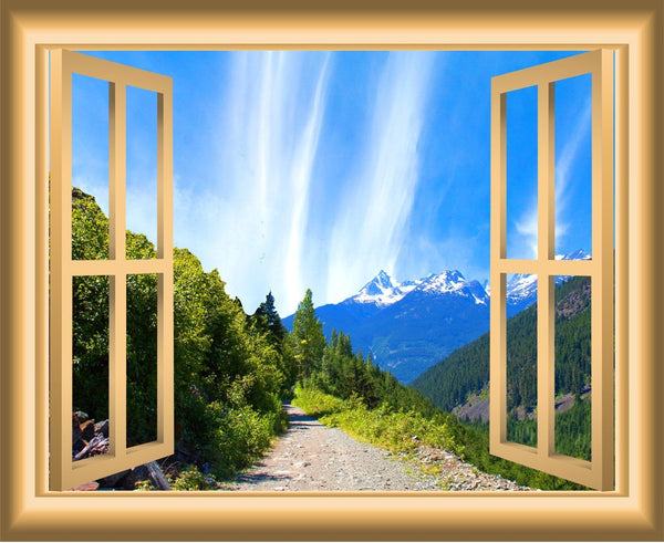 VWAQ Mountain Window Wall Decal Outdoors Wall Decor Peel and Stick Mural - NW39 - VWAQ Vinyl Wall Art Quotes and Prints
