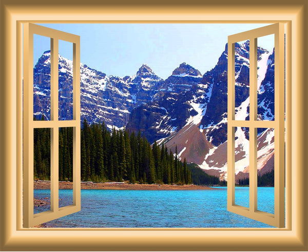 3D Lake Window Wall Decal Nature Decor Peel And Stick Mural - NW44 - VWAQ Vinyl Wall Art Quotes and Prints