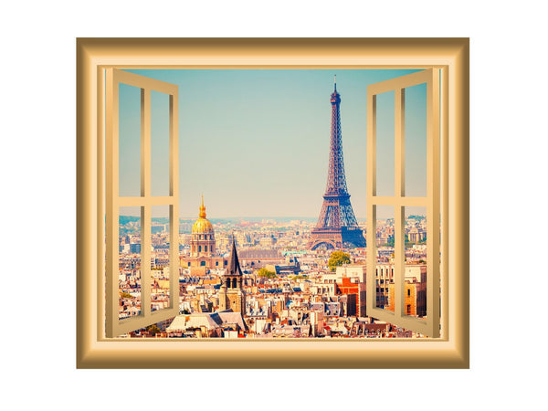 VWAQ Paris Window Decal Eiffel Tower Wall Sticker Peel and Stick Mural - NW6 no background