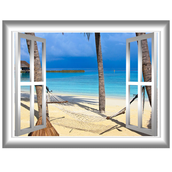 VWAQ Tropical Window Frame Vinyl Wall Decal - NW80 no background