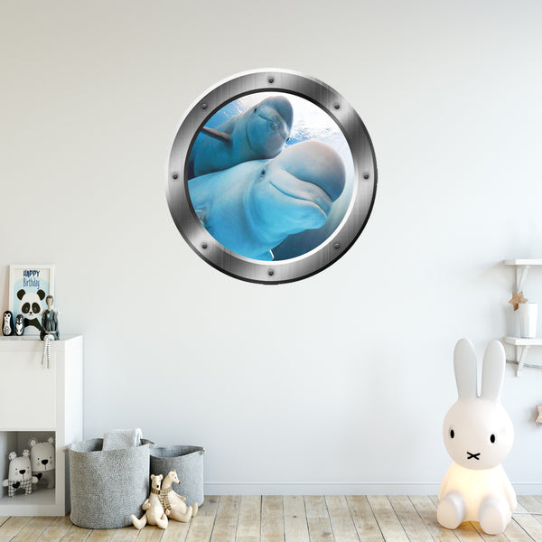 VWAQ Peel and Stick Beluga Whales Ocean Silver Porthole Wall Decal - P021