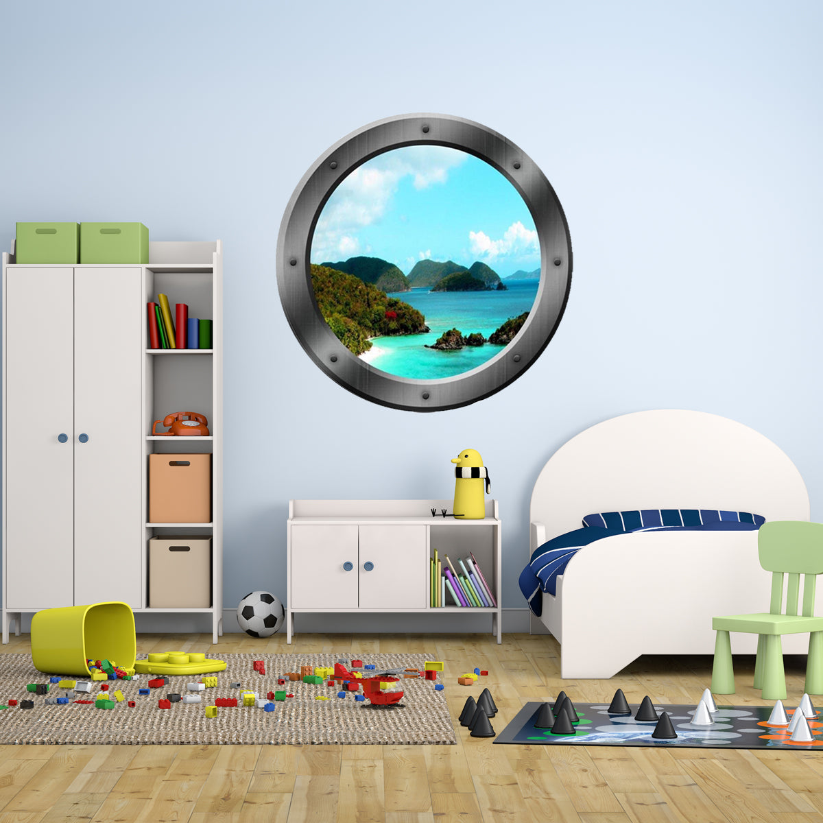 VWAQ Ocean Mountain View Peel and Stick Porthole Vinyl Wall Decal - P08