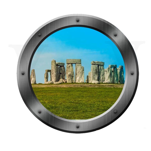 VWAQ Stonehenge Porthole Window View Peel and Stick Vinyl Wall Decal - VWAQ Vinyl Wall Art Quotes and Prints no background