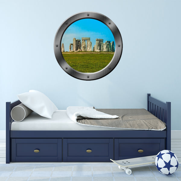 VWAQ Stonehenge Porthole Window View Peel and Stick Vinyl Wall Decal - P200 - VWAQ Vinyl Wall Art Quotes and Prints