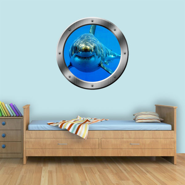 VWAQ Great White Shark Underwater Porthole Peel and Stick Vinyl Wall Decal - PO17 - VWAQ Vinyl Wall Art Quotes and Prints