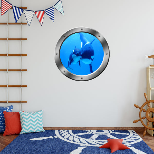 VWAQ Peel and Stick Killer Whales Ocean View Window Porthole Wall Decal - PO20 - VWAQ Vinyl Wall Art Quotes and Prints