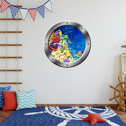 VWAQ Coral Reef Peel and Stick Underwater Porthole Vinyl Wall Decal - PO22 - VWAQ Vinyl Wall Art Quotes and Prints