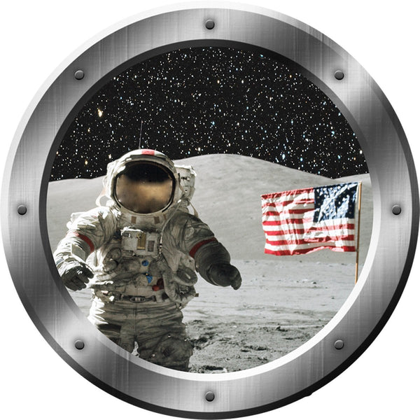Astronaut Moon Peel and Stick Space Porthole Vinyl Wall Decal - PS2 - VWAQ Vinyl Wall Art Quotes and Prints
