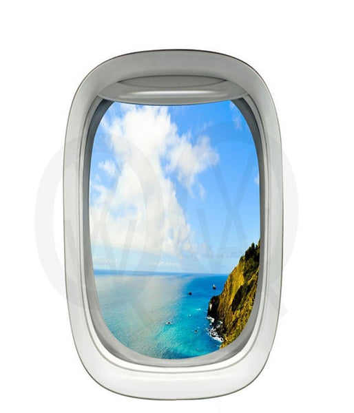 VWAQ Peel and Stick Airplane Window Ocean Mountainside View Vinyl Wall Decal - PW15 no background