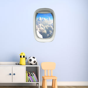 VWAQ Peel and Stick Airplane Window Clouds View Vinyl Wall Decal - PW18