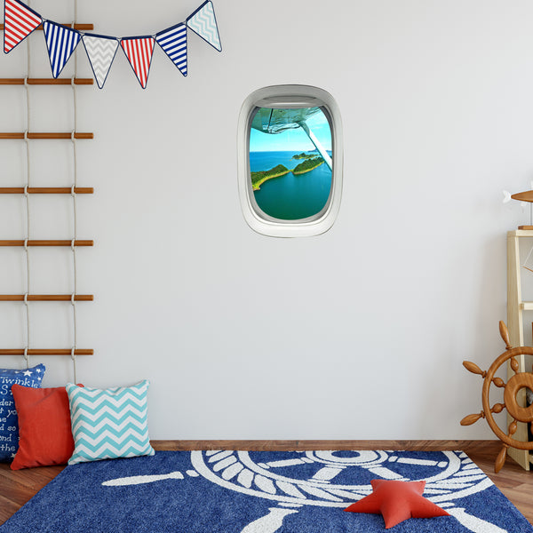 Airplane Window Island View Peel and Stick Vinyl Wall Decal - PW19 - VWAQ Vinyl Wall Art Quotes and Prints