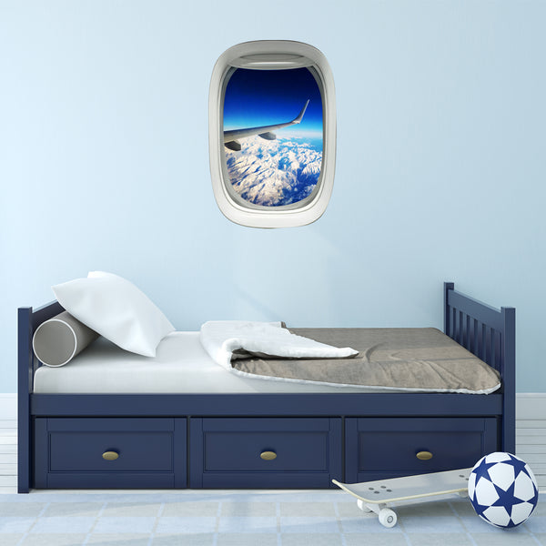 Airplane Window Wing Mountain View Peel and Stick Vinyl Wall Decal - PW20 - VWAQ Vinyl Wall Art Quotes and Prints