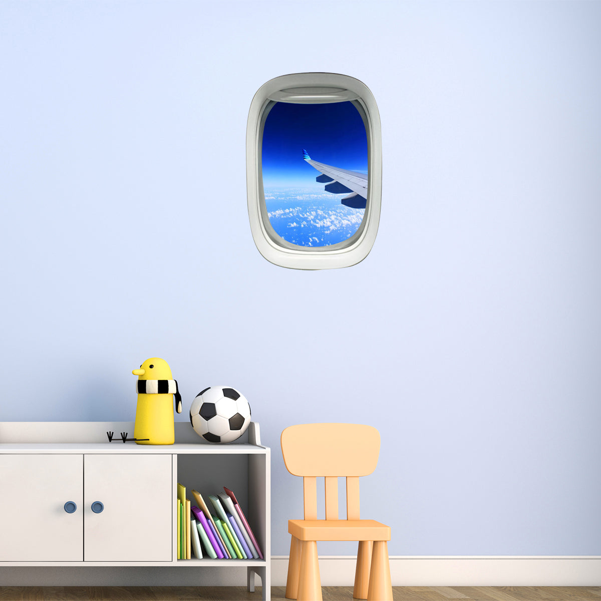 VWAQ Peel and Stick Commercial Airplane Window Wing View Vinyl Wall Decal - PW7