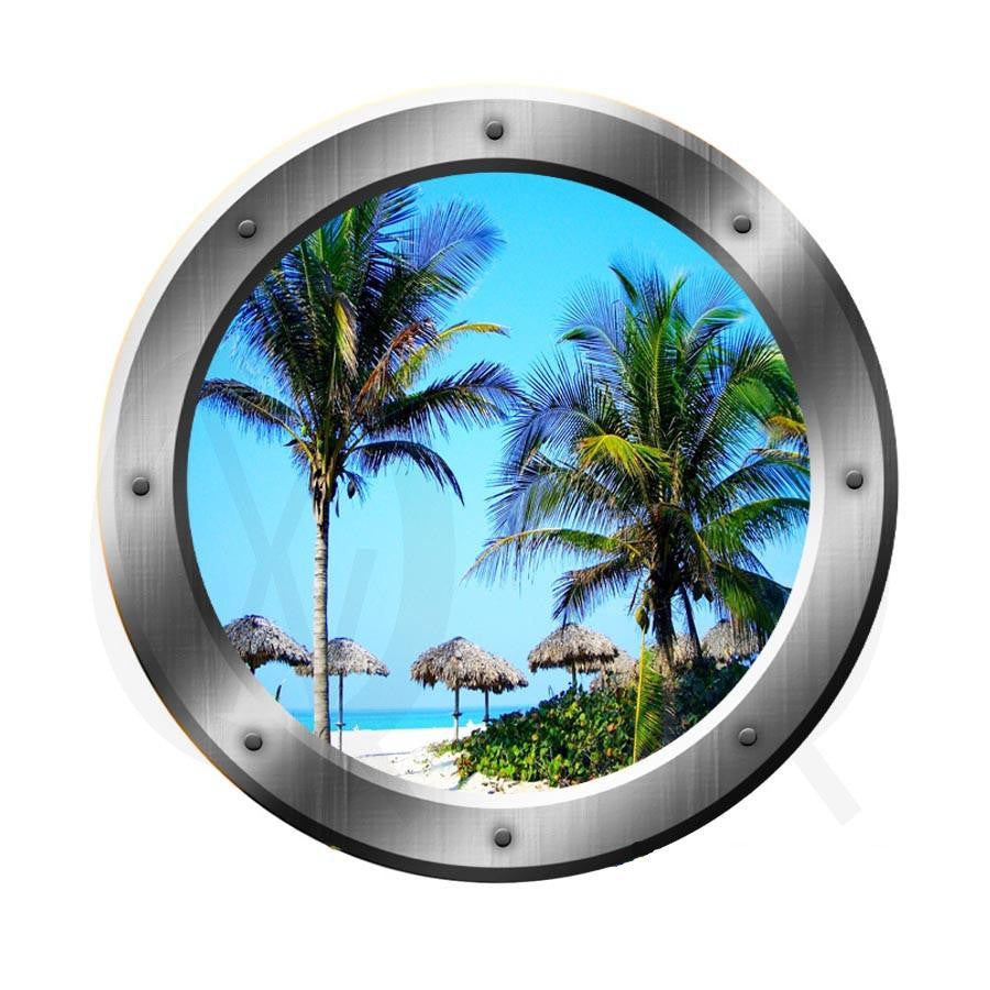 Tropical Beach Scene Window Porthole Palapa's Room Décor Wall Art VWAQ-SP14 Wall Decal