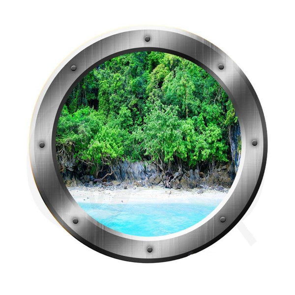 VWAQ Ocean Shoreline Silver Porthole Window View Peel and Stick Vinyl Wall Decal - VWAQ Vinyl Wall Art Quotes and Prints no background