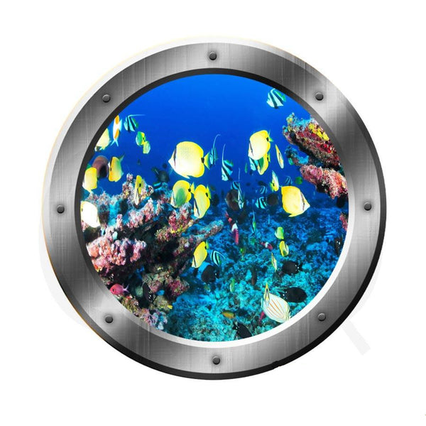 VWAQ Underwater Submarine Fish Silver Porthole Scene Peel And Stick Vinyl Wall Decal - SP16 no background
