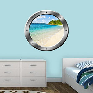 VWAQ Tropical Beach Peel and Stick Gold Window Porthole Vinyl Wall Decal - SP20 - VWAQ Vinyl Wall Art Quotes and Prints