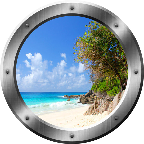 VWAQ Relaxing Peel and Stick Beach Porthole Window Vinyl Wall Decal - VWAQ Vinyl Wall Art Quotes and Prints no background
