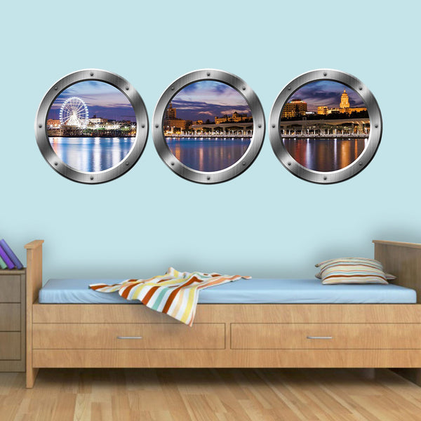 3D Window View Wall Sticker, London Skyline Cityscape Decal - Porthole Vinyl Stickers -SPW22 - VWAQ Vinyl Wall Art Quotes and Prints