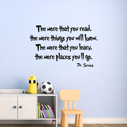 VWAQ The More That You Read Dr. Seuss Home Decor Vinyl Wall Decal