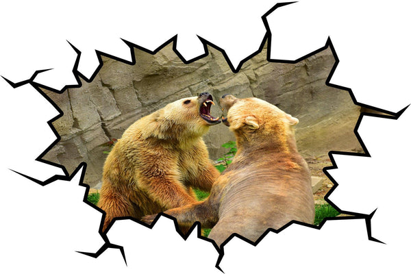 VWAQ Grizzly Bear Wall Decal Crack in the Wall Zoo Animal Peel & Stick Mural - WC20 - VWAQ Vinyl Wall Art Quotes and Prints