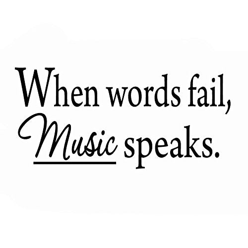 VWAQ When Words Fail Music Speaks Wall Decal - VWAQ Vinyl Wall Art Quotes and Prints no background