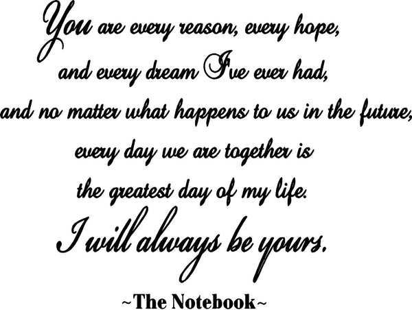 VWAQ You Are Every Reason, Every Reason, Every Dream The Notebook Wall Decal - VWAQ Vinyl Wall Art Quotes and Prints no background